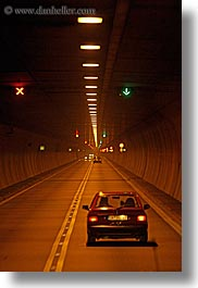 abstracts, cars, europe, light streaks, lights, slovakia, streets, transportation, tunnel, vertical, photograph