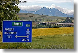blues, colors, europe, highways, horizontal, signs, slovakia, zilina, photograph