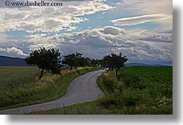 clouds, colors, europe, green, horizontal, lined, nature, roads, sky, slovakia, streets, trees, winding, photograph