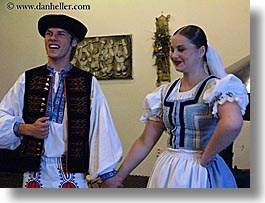 activities, clothes, couples, dance, dancing, emotions, europe, folks, hats, horizontal, music, people, slovak, slovakia, slovakian dance, smiles, photograph
