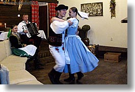 accordion, activities, artists, clothes, couples, dance, dancing, emotions, europe, folks, hats, horizontal, instruments, music, musicians, people, slovak, slovakia, slovakian dance, smiles, photograph