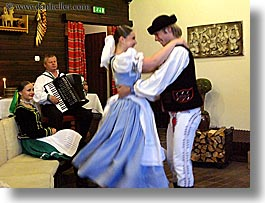 accordion, activities, artists, clothes, couples, dance, dancing, europe, folks, hats, horizontal, instruments, music, musicians, people, slovak, slovakia, slovakian dance, photograph