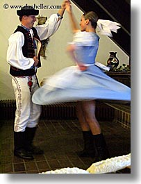activities, clothes, couples, dance, dancing, europe, folks, hats, music, people, slovak, slovakia, slovakian dance, vertical, photograph