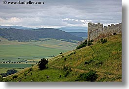 castles, clouds, europe, fields, green, horizontal, materials, nature, sky, slovakia, spis castle, stones, photograph