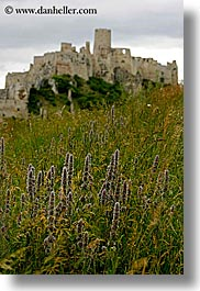 castles, europe, fields, green, materials, slovakia, spis castle, stones, vertical, photograph
