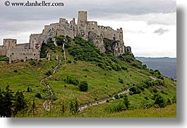 castles, europe, fields, green, horizontal, materials, slovakia, spis castle, stones, photograph