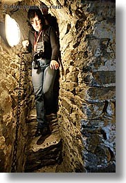 europe, materials, narrow, slovakia, spis castle, staircase, stones, vertical, womens, photograph