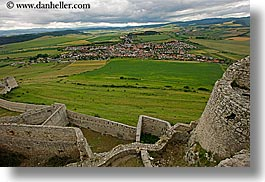 clouds, europe, horizontal, materials, nature, onto, overlook, sky, slovakia, spis castle, stones, towns, photograph