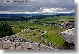 clouds, europe, horizontal, nature, onto, overlook, sky, slovakia, spis castle, towns, photograph