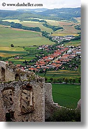 europe, onto, overlook, slovakia, spis castle, towns, vertical, photograph