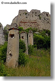 europe, materials, pillars, ruined, slovakia, spis castle, stones, vertical, photograph