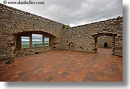 europe, floors, horizontal, materials, slovakia, spis castle, stones, terracotta, tiles, walls, photograph