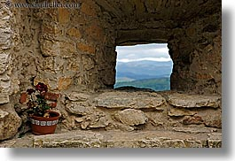 europe, flowers, horizontal, materials, pots, slovakia, spis castle, stones, windows, photograph