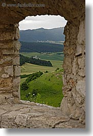 europe, materials, slovakia, spis castle, stones, towns, vertical, viewing, windows, photograph