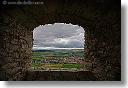 clouds, europe, horizontal, materials, nature, sky, slovakia, spis castle, stones, towns, viewing, windows, photograph