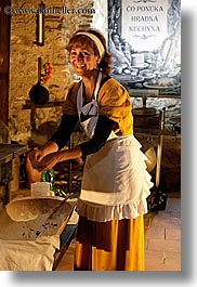 cooking, europe, kitchen, medieval, people, slovakia, spis castle, vertical, womens, photograph