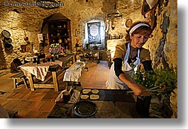 cooking, europe, horizontal, kitchen, materials, medieval, people, slovakia, spis castle, stones, womens, photograph