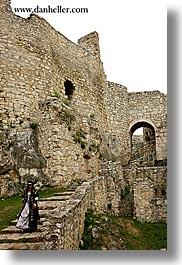 down, europe, materials, slovakia, spis castle, stairs, stones, vertical, walking, womens, photograph