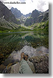 europe, feet, lakes, mountains, slovakia, vertical, water, photograph