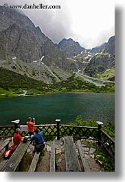 deck, europe, lakes, mountains, overlooking, people, slovakia, vertical, water, photograph