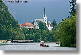 bled, boats, churches, europe, horizontal, lakes, rowing, slovenia, photograph