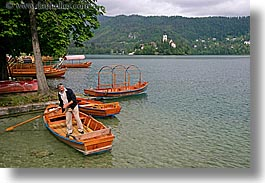 bled, boats, europe, horizontal, lakes, men, rowers, rowing, slovenia, photograph