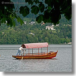 bled, boats, europe, lakes, men, rowers, rowing, slovenia, square format, photograph