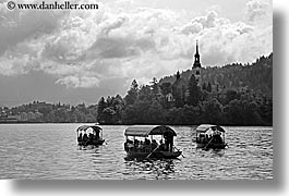 black and white, bled, boats, churches, europe, horizontal, lakes, slovenia, photograph
