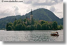 bled, boats, churches, europe, horizontal, lakes, slovenia, photograph