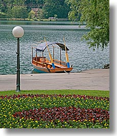 bled, boats, covered, europe, gardens, lakes, lamp posts, slovenia, vertical, photograph
