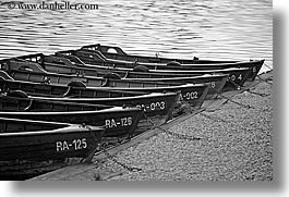 black and white, bled, boats, europe, horizontal, lakes, slovenia, uncovered, photograph