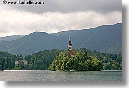 bled, churches, europe, horizontal, islands, lakes, slovenia, photograph