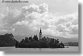 black and white, bled, churches, clouds, europe, horizontal, islands, lakes, slovenia, photograph