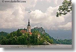 bled, branches, churches, clouds, europe, horizontal, islands, lakes, slovenia, photograph