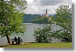 benches, bled, churches, couples, europe, horizontal, islands, lakes, slovenia, photograph