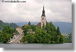 bled, churches, europe, horizontal, islands, lakes, slovenia, stairs, photograph