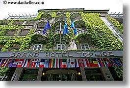 bled, europe, flags, grand, horizontal, hotel toplice, hotels, ivy, slovenia, toplice, photograph