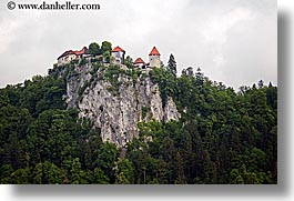 bled, castles, europe, hills, horizontal, slovenia, photograph