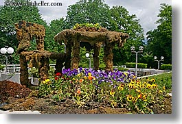 bled, europe, flowers, gardens, horizontal, sculptures, slovenia, photograph