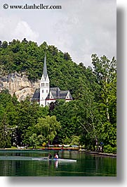 bled, churches, europe, kayaks, lakes, slovenia, vertical, photograph