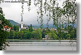 bled, churches, europe, hangings, horizontal, leaves, slovenia, towns, views, photograph
