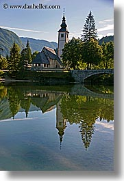 bohinj, churches, europe, morning, slovenia, vertical, photograph