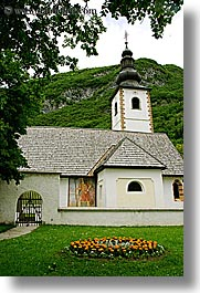 bohinj, churches, europe, gardens, slovenia, vertical, photograph
