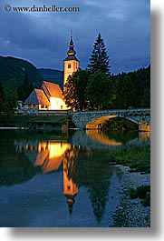 bohinj, churches, dusk, europe, eve, lakes, long exposure, reflections, slovenia, vertical, photograph