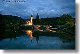 bohinj, churches, dusk, europe, eve, horizontal, lakes, long exposure, reflections, slovenia, photograph