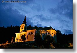 bohinj, churches, dusk, europe, evening, hills, horizontal, slovenia, slow exposure, photograph