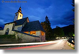 bohinj, churches, dusk, europe, horizontal, lightstreak, long exposure, luminated, slovenia, photograph