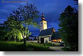 bohinj, churches, dusk, europe, horizontal, long exposure, luminated, slovenia, trees, photograph