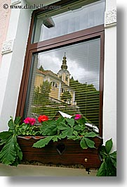 bohinj, churches, europe, flowers, reflections, slovenia, vertical, windows, photograph