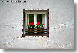 bohinj, europe, flowers, geraniums, horizontal, slovenia, windows, photograph